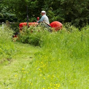 Robin D'Arcy mowing the paths